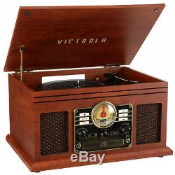 Record Player With Speakers 6 in 1 Bluetooth Radio Turntable Classic CD Cassette