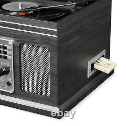 Record Player With Speakers 6 in 1 Bluetooth Radio Turntable Classic CD Graphite