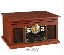 Record Player With Speakers Mahogany 6 in 1 Bluetooth Radio Classic CD Cassette