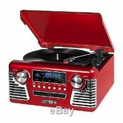 Retro 3-Speed Bluetooth Record Vinyl Turntable Stereo AM/FM Radio CD USB Speaker