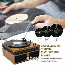 Retro Bluetooth Record Player with Stereo External Speakers, 3 Yellow Wood