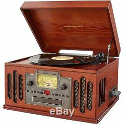 Retro Record Player 3-Speed Turntable with Radio, CD/Cassette Player & Bluethooth