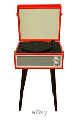 Retro Record Player With Legs Bluetooth Dynamic Speakers Red