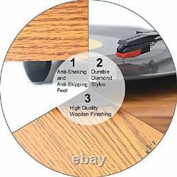 Retro Record Player for 33/45/78 RPM Vinyl Records, Bluetooth
