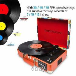 Retro Record Vinyl Player Briefcase with speakers, Bluetooth, Radio and USB Port