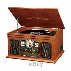 Retro Vintage Wireless Turntable Radio CD Cassette MP3 Record Player Bluetooth