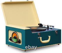 Retro Vinyl Turntable 3 Speed MP3 Record Player Entertainment Center w Speakers