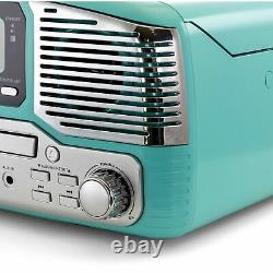 Retro Wireless Bluetooth, Record and CD Player in Turquoise, 3 Speed Turntable