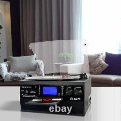 Stereo Bluetooth Record Player Turntable Speaker LP Vinyl to MP3 Converter CD
