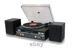 TechPlay Commander Black Stereo System Record Player Turntable Bluetooth CD/MP3