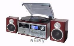 TechPlay ODC128BT Wood Stereo Record Player Turntable Bluetooth CD Cassette NEW