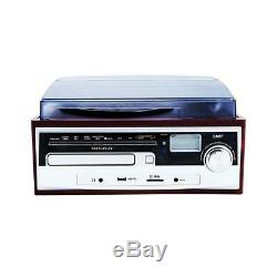 TechPlay ODC38WD Record Turntable Stereo Speaker System Bluetooth CD Player NEW