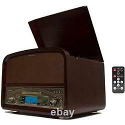TechPlay TCP9560 Retro Record Turntable Player System Bluetooth CD LP Walnut NEW