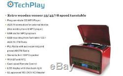 TechPlay TCP9560 Retro Stereo Record Player Turntable Cherry Bluetooth CD NEW