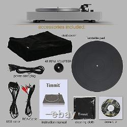 Timmit Vinyl Turntable Record Player with Bluetooth Transmitter and USB to PC