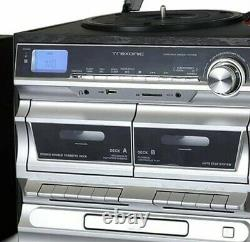 Trexonic 11BS 3-Speed Turntable CD Dual Cassette Record Player w Bluetooth USB
