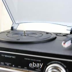 Trexonic 3-Speed Turntable 11BS Record Player CD Dual Cassette Bluetooth USB FM