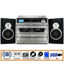Trexonic 3-Speed Turntable, CD, 2 Cassette, Record Player TRX-11BS USB BT FM SD