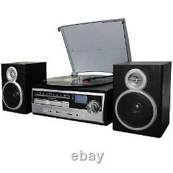Trexonic 3-Speed Turntable w CD Record Player FM Bluetooth USB/SD Encoding AUX