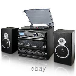 Trexonic 3-Speed Vinyl Turntable 33 45 78 Record Player CD Cassette USB FM SD