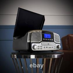 Trexonic Black Bluetooth 3-spd Retro Record Player Turntable FM Stereo CD