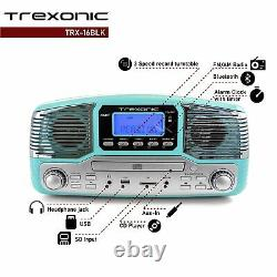 Trexonic Turquoise Bluetooth 3-spd Retro Record Player Turntable FM Stereo CD