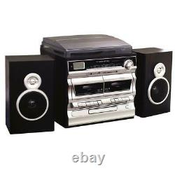 Turntable 3-Speed With 2-Cassette & CD Player Bluetooth FM Radio USB/SD Recording