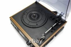 Turntable Vinyl Record Player Built-in Speakers With AM/FM Radio Cassette
