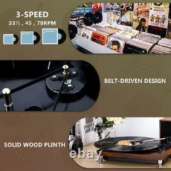 Turntable with Stereo Bookshelf Speakers Retro Turntable Vinyl Record Player MDF