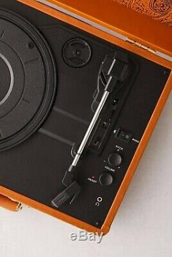 Unique Retro Faux Leather Record Player Portable Bluetooth Turntable