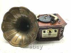 Updated Bluetooth Phonograph Record Player, 45 RPM Adaptor, 3 Speed Turntable 33