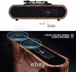 VOKSUN Vintage Turntable 3-Speed Bluetooth Vinyl Player LP Record Player Wood