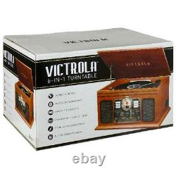 Victrola 6 In 1 Nostalgic Bluetooth Record Player With 3 Speed Turntable With CD