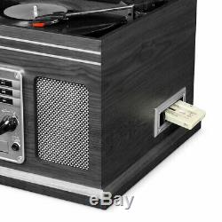 Victrola 6-in-1 Nostalgic BT Record Player with Turntable, CD INN-ITVS-200B-GRY