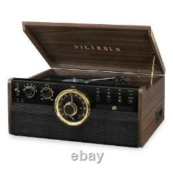 Victrola 6-in-1 Wood Empire Bluetooth Record Player with 3-Speed Turntable, CD