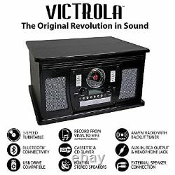 Victrola 8-in-1 Bluetooth Record Player & Multimedia Center Built-in Stereo S
