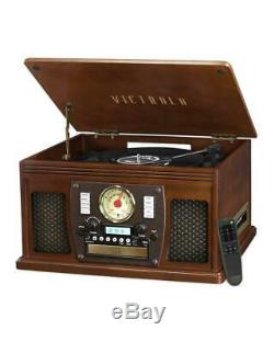 Victrola 8-in-1 Nostalgic Bluetooth Real Wood Record Player 3 Speed Turntable