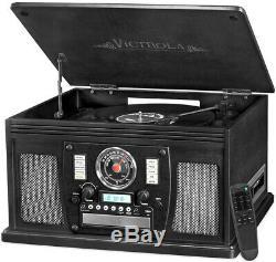 Victrola 8-in-1 Nostalgic Bluetooth Record Player USB Encoding Turntable Black
