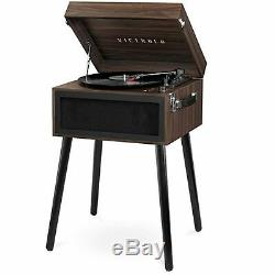 Victrola Bluetooth Record Player Stand with 3-Speed Turntable Espresso