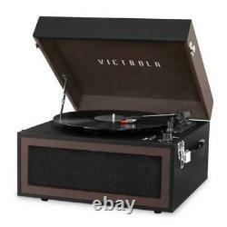 Victrola Bluetooth Vinyl Record Player Stand 3-Speed Turntable & FM Radio