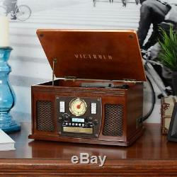 Victrola Record Player 8-in-1 Bluetooth USB Aux 3-Speed Turntable Durable Wood