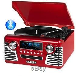 Victrola V50-200-RED 50's Retro Record Player Stereo Bluetooth USB Encoding CD