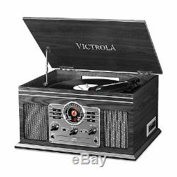 Victrola Wooden 6 in 1 Nostalgic Record Player Turntable Bluetooth Graphite CD
