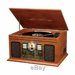 Victrola Wooden 6 in 1 Nostalgic Record Player Turntable Bluetooth Mahogany CD