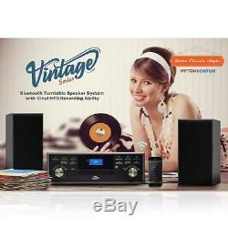 Vintage Classic Bluetooth Turntable With 2 Speakers System Vinyl/MP3 Recording