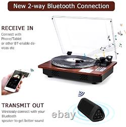 Vintage Record Player with Speakers Turntable Vinyl 3 Speed Bluetooth MP3 USB