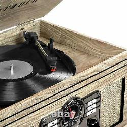Vintage Retro Record Player Rustic Stereo System Bluetooth CD Cassette FM Radio