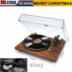 Vintage Vinyl Record Player Bluetooth Turntable Stereo 2-Speed with Phono Preamp