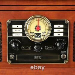 Vinyl Record Player 3-Speed Turntable CD Cassette FM Radio Bluetooth Retro AUX