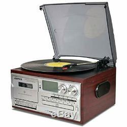 Vinyl Record Player 9 1 3 Speed Bluetooth Vintage Turntable CD Cassette AM/FM